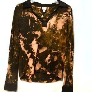 Grunge Black Brown Long Sleeve Blouse Shirt Cotton